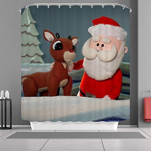 VANCAR Xmas Merry Christmas Day Happy New Year Holiday Shower Curtain Santa Claus Reindeer Print Decorative Bath Room Curtain for Bathroom Decoration Home Decor 66
