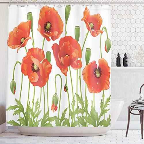 Ambesonne Poppy Decor Collection, Spring Wildflower Poppy Ladybug Leaf Springtime Garden Backyard Image Pattern, Polyester Fabric Bathroom Shower Curtain Set with Hooks, Orange Red Green