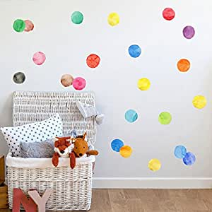 "Amaonm Removable 27 Pcs 2.75"" 7cm Vinyl Colorful Multi Color Dots Wall Decor Decal Dot Peel and Stick Wall Stickers Decals DIY Polka Dots Circles Wall art Decor for Nursery Kids room Bedroom"