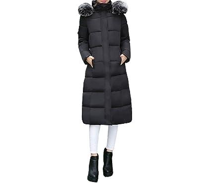 Women Outerwear Button Coat Long Cotton-Padded Jackets Pocket Fur Hooded Coats Overcoat,Black