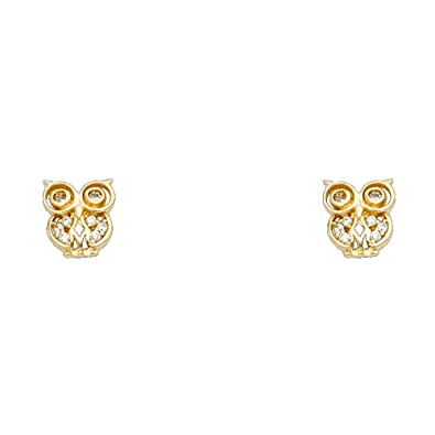 Wellingsale 14K White Gold Polished Owl Stud Earrings With Screw Back