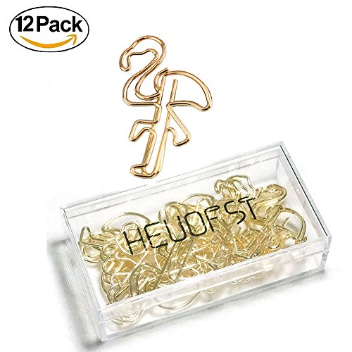 12 PCS Gold Plated Stainless Steel Flamingo Paper Clips Thick Metal Card File Note Clips by HEUOFST