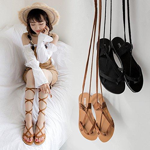sandales à black de fond Bandage yalanshop plat pincées XqBzZA