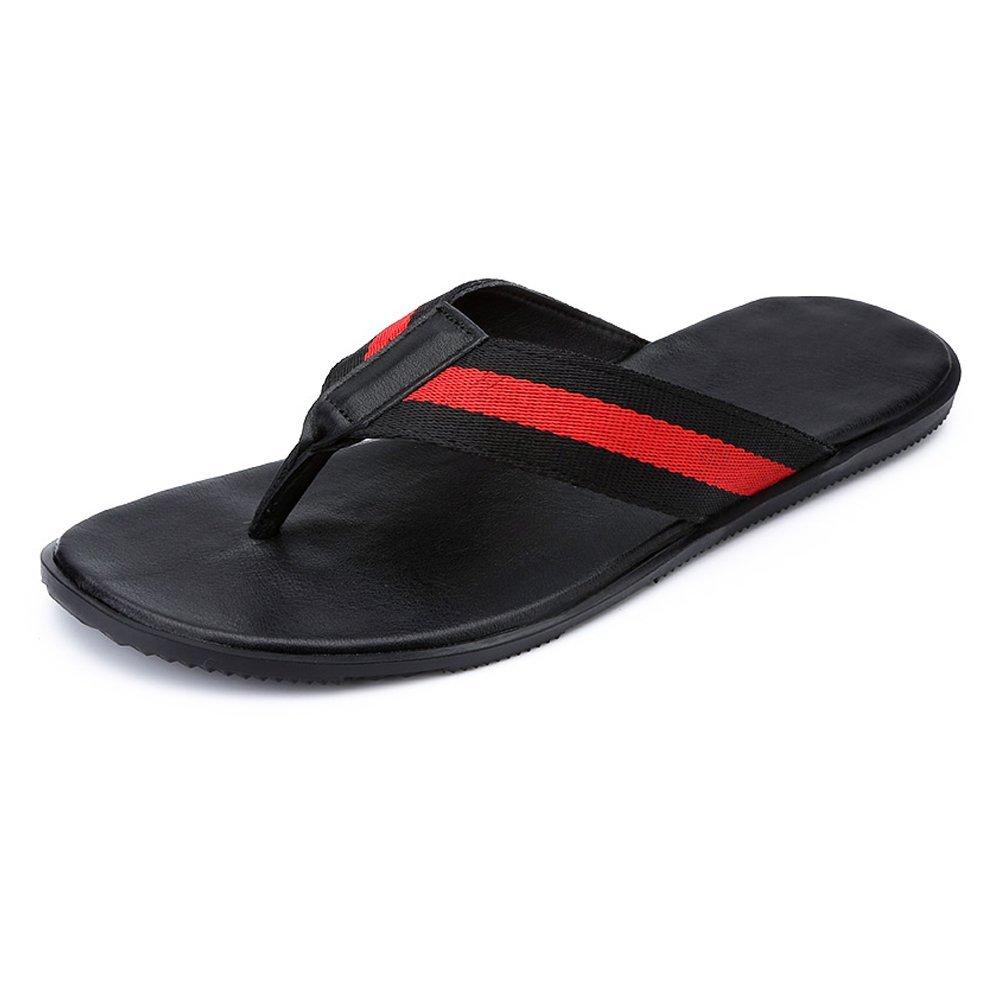 new product 1bebc 7956c Dig dog dog dog bone Men s Flip Flops PU Leather Beach Slippers Non-Slip  Sole Sandals (Leather Belt or Braiding Tape) B07G2H1W7N Sandals 46b653
