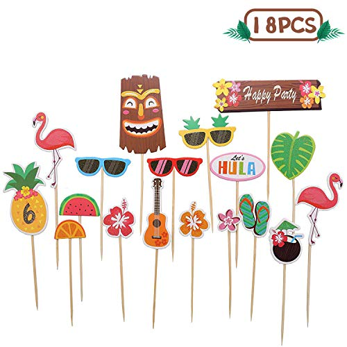 Tropical Hawaiian Cupcake Toppers, Luau Summer Themed Party Decorations, 18 pcs ()