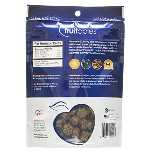 Fruitables Skinny Minis Grain Free Soft Dog Treats Pumpkin & Berry Flavor 5 Oz