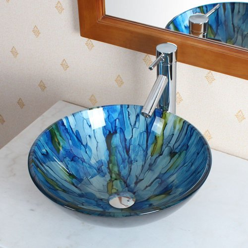ELITE Bathroom Lt.blue Stripe Glass Vessel Sink & Chrome Faucet Combo