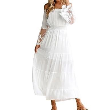 9202f76d124 Decha Bohême Maxi Robe de Plage Manches Longues Bateau Cou Dress Casual  Dentelle Patchwork pour Vacances Piscine  Amazon.fr  Vêtements et  accessoires