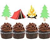 Set of 24 Camping Cupcake Toppers Camping Birthday Party Decor Woodlands Party Decor Happy Camper Party Decor Lumberjack Party Decor One Happy Camper Theme Birthday Picks Camp Party Decorations Tent Topper