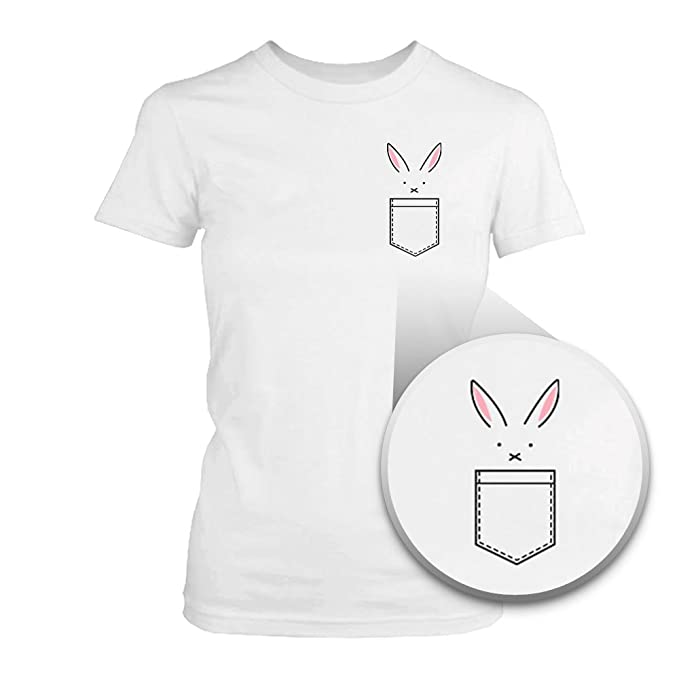 1f5ab7ed1 Amazon.com: 365 Printing Bunny in Pocket Women's T-Shirt Easter Tee Cute Rabbit  Pocket Printed Shirt: Clothing