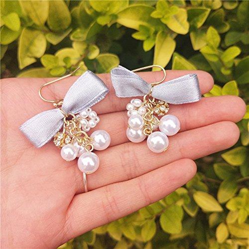 - usongs Meow star fish ? ribbon soft sister jewelry pearl earrings diamond earrings simple bunch grapes no pierced ear clip women girls