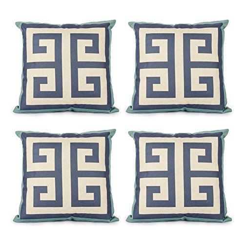 - Top Finel Square Decorative Throw Pillow Cases Cotton Linen Outdoor Cushion Covers 18 X 18 for Sofa, Set of 4 - Maze