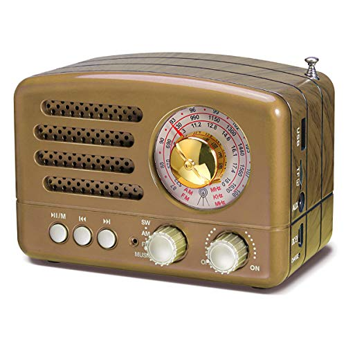 J-160 AM FM Radio Retro Bluetooth Speaker, Transistor Radio Portable Battery Operated Radio with Classical Vintage Look, Built-in USB Port, Micro-SD, AUX Input(Gold)