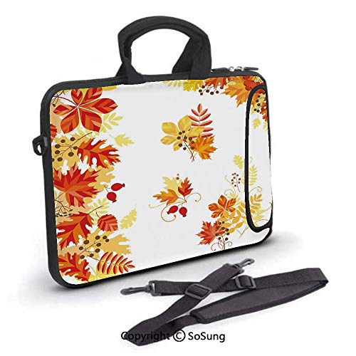 15 inch Laptop Case,Autumn Themed Pattern Chestnut Oak Maple Leaves and Berries Corner Design Elements Neoprene Laptop Shoulder Bag Sleeve Case with Handle and Carrying & External Side Pocket,for - 15.4 Inch Berry