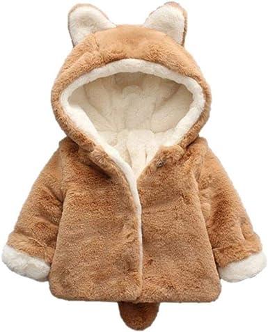 Kids Girls Faux Fur Fleece Bunny Ears  Warm Hooded Coat Jacket Outerwear Winter