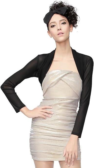 Ladies Sheer Mesh Open Front Cropped Long Sleeve Bolero Shrug Chiffon Cardigans