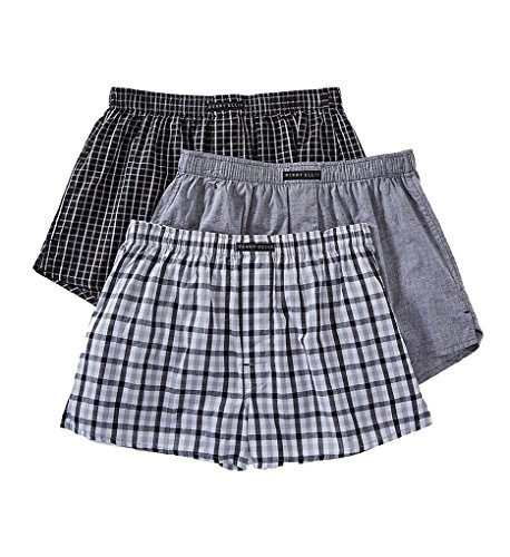 Perry Ellis 100% Cotton Solid & Plaids Woven Boxers - 3 Pack (879772) S/Black/Grey (Solid Woven Boxer)