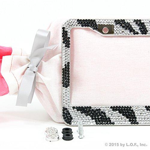 New Silver & Black Safari Zebra Tiger Print Bling License Plate Frame Gift Set