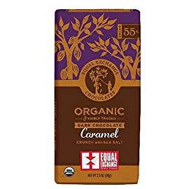 Equal Exchange Organic Dark Chocolate Caramel crunch with sea salt 2.8 oz 50 Perishability: perishable Package Type: individual item multi-serving Container Material: paper or cardboard