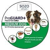 Dog Flea Treatment Collar - Flea Tick Collar ProGuard Plus - Medium Dog (safe pet protection from pest bites infestations larvae lice mosquitoes)