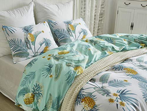 Xiongfeng 3 Pcs Reversible Tropical Duvet Cover Set Queen Size