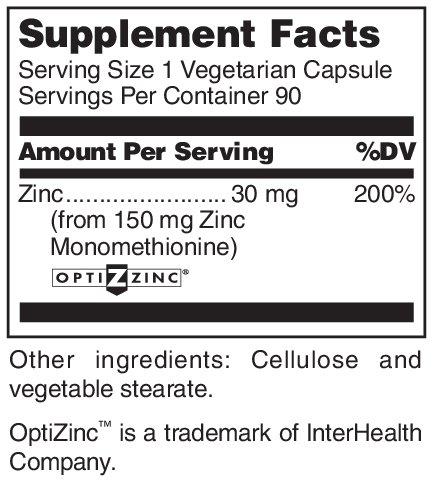 Douglas Laboratories® - Opti Zinc 30 mg. - Zinc Monomethionine Supports Immune Function, Reproductive Health, and Healthy Skin* - 90 Capsules