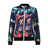 Womens Jackets Clearance Sale,WUAI Ladies Casual Vacation Floral Print Slim Fit Fashion Tops Zipper Jacket Outwear (Blue,Large)