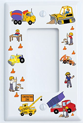 Single Nylon Rocker Construction Truck Switch Plates Covers / Construction Theme with Bulldozers, Tractors, Cement Truck, Steamroller, Crane, and Dump Truck Childrens Wall Decor. (Single Rocker)