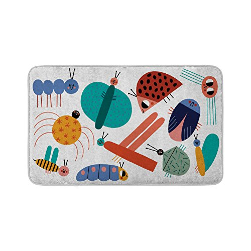 Mouse + Magpie Bath Mat, Skid-Proof, Memory Foam, Soft, Quick-Dry Microfiber, 31''x19'' for Toddler, Kid, Child Bathroom, Little Bugs World by Mouse + Magpie (Image #5)