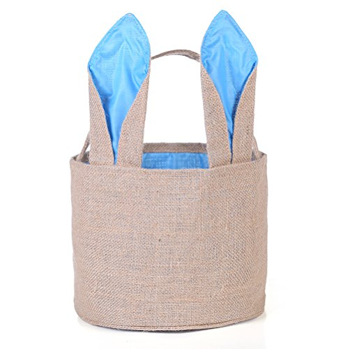 Easter Egg Basket for kids Bunny Burlap Bag to Carry Eggs Candy and Gifts (Blue) (Basket Burlap)