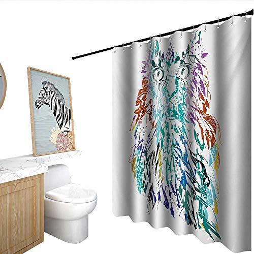 homecoco Owl Funny Shower Curtain Owl with Fluffy Swollen Colorful Feathers Large Eyes Vision Sage Camouflage Character Image boy Shower Curtain Multi