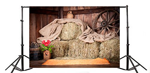 Laeacco 10x6.5ft Old Barn Interior Scene Backdrop Photography Background Haystack Bale Wooden Wheel Stack Bucket Rustic Farm Coutryside Red Flower Wood Wall Adult Art Shoot Photo Studio Props ()