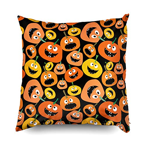 Shorping Zippered Pillow Covers Pillowcases 18X18 Inch Halloween Pumpkin Seamless Pattern on Black Background Decorative Throw Pillow Cover,Pillow Cases Cushion Cover for Home Sofa -