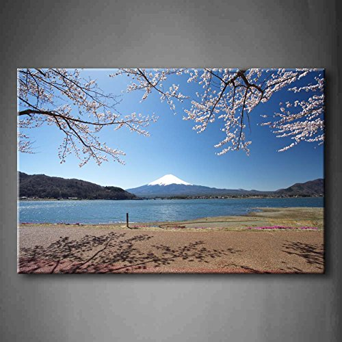 First Wall Art - Mountain Fuji In Spring Cherry Blossom Sakura Lake Hill Wall Art Painting Pictures Print On Canvas Landscape The Picture For Home Modern Decoration (Stretched By Wooden - Palm Desert Springs Hills