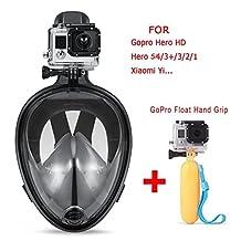 Snorkeling Mask,180° View Scuba Diving Full Face Free Breath Design Breath Ventilation Concept Anti-Leak Anti-Fog Swimming Mask For Gopro Hero 5/4/3+/3/2/1 SJ4000 SJ5000 Action Camera