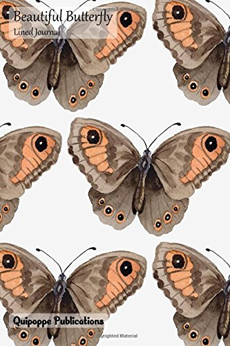 Download Beautiful Butterfly Lined Journal: Medium College Ruled Notebook With Watercolor Brown Pattern Cover pdf