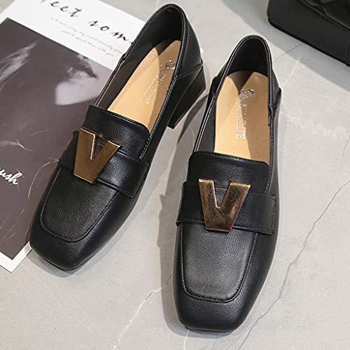 scarpe Tacco Donna Jiangfu Casuale Da Stile Tinta Quadrato Mocassini Unita Nero Barca Bassa dI00wq