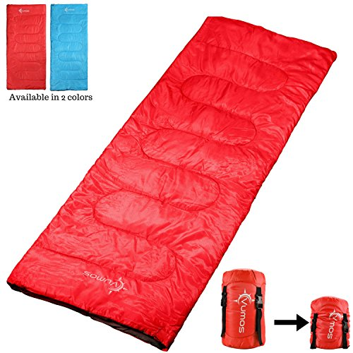 Vumos Sleeping Bag - Lightweight Adult Sleeping Bag Great for Camping, Hiking and Outdoor Use - Includes Compression Sack for Added Portability - Can be Made Into a Double (Color Red)