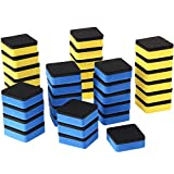 Sunshane 36 Pack Magnetic Whiteboard Dry Eraser Chalkboard Cleanser for Home School and Office (Blue and Yellow, 2 x 2 Inch)