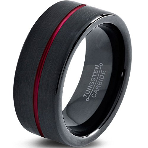 Tungsten Wedding Band Ring 8mm for Men Women Red Black Pipe Cut Brushed Polished Size 10.5 by Chroma Color Collection