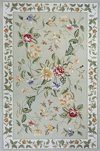 Momeni Rugs SPENCSP-16SAG80B0 Spencer Collection, 100% Wool Hand Hooked Traditional Area Rug, 8' x 11', Sage