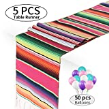 Mexican Serape Table Runner 14 x 84 inch for Mexican Fiesta Party Wedding Decorations, Pack of 5 Fringe Cotton Table Runner with 50 Pcs Ballons