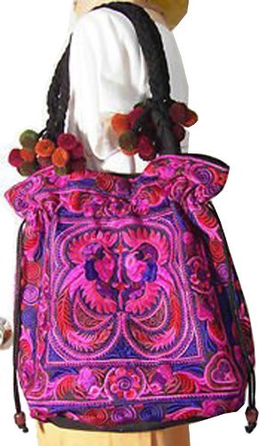 Hmong Tribal Ethnic Thai Indian Vintage Style Embroidered Hobo Shoulder Bag by Rhapsody