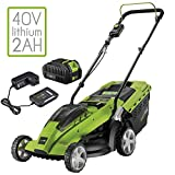 Aerotek Cordless 40V Series X1 Lawnmower Lithium-Ion 2Ah Battery & Charger Included Cutting Width 370mm & 40 Litre Grass Collection Box