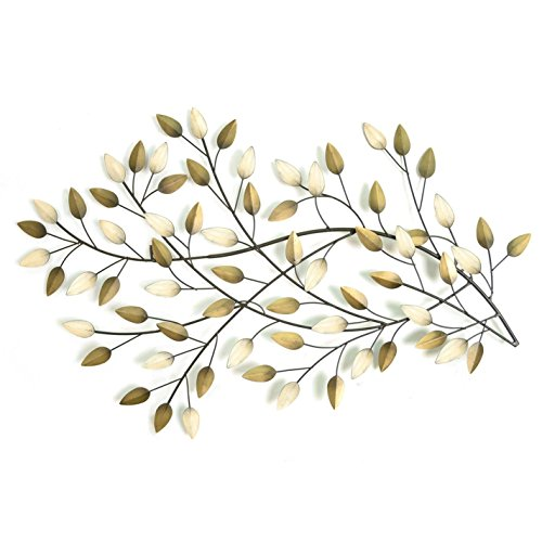 Stratton SHD0062 Home Blowing Leaves Wall Decor, Champagne and Gold