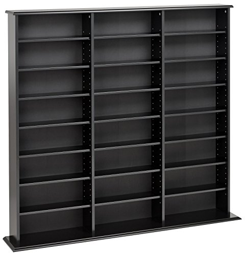 Media Storage Shelving Unit - Prepac Triple Width Wall  Storage Cabinet, Black