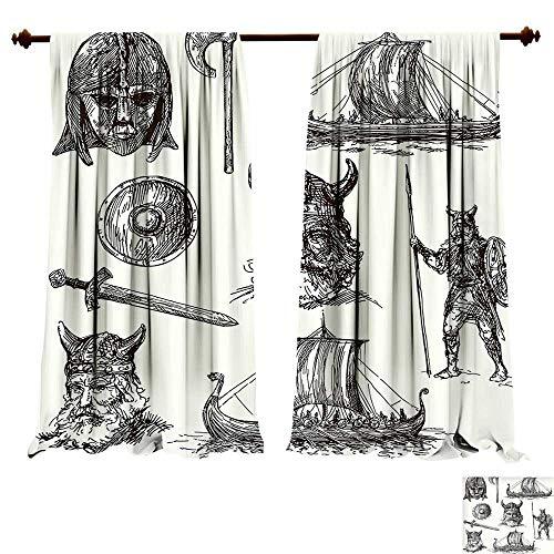fengruiyanjing-Home Blackout Window Curtain Viking Hand Drawn Ancient War Figures Sword Shield Warriors Mask Dragon Head Ship Medieval Black White Customized Curtains (W72 x L107 -Inch 2 Panels) -