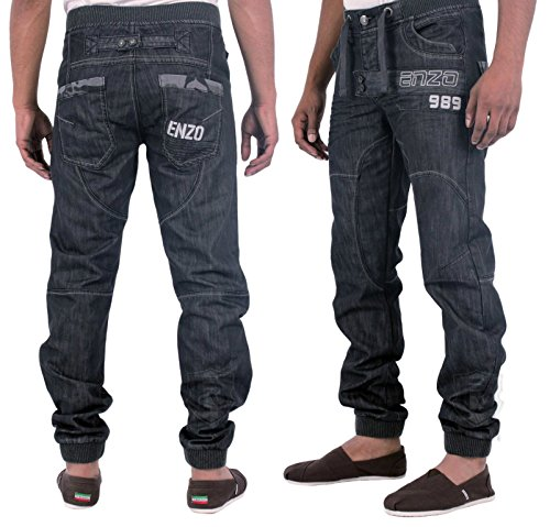 MENS NEW ENZO EZ221 DARK WASH CUFFED JOGGER STYLE CHEAP JEANS ALL ...
