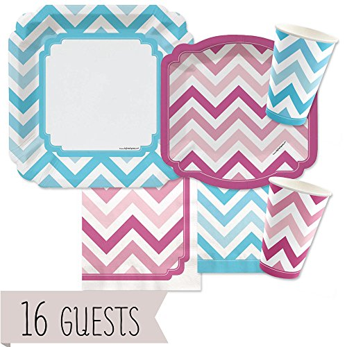 Big Dot of Happiness Chevron Blue and Pink - Gender Reveal Party Tableware Plates, Cups, Napkins - Bundle for 16 -