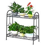 FaithLand Steady 2-Tier Metal Plant Stand Flower Pot Holder for Indoor Outdoor Decor, 33 1/2 x 13 1/2 x 32 5/16 in.(LxDxH)
